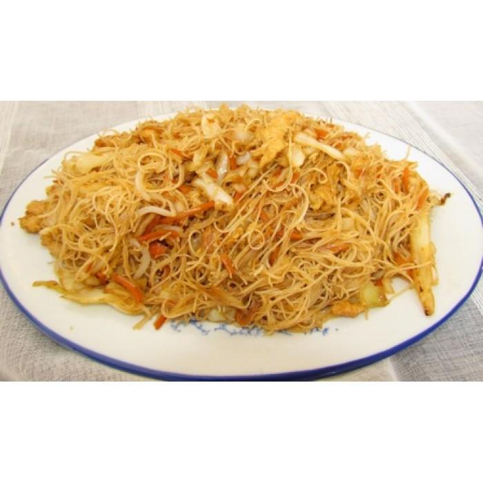 Цена 7.90 лв. за Спагети ФАН КАН с три вида месо, зеленчуци и яйце в категория Оризови спагети от Ресторант Класико в София