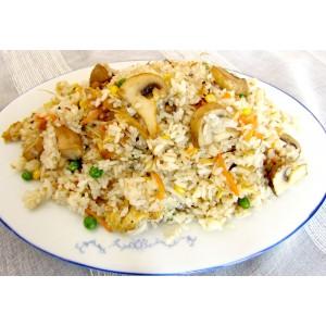 136. Пържен ориз с гъби печурки, зеленчуци и яйце - 750гр.